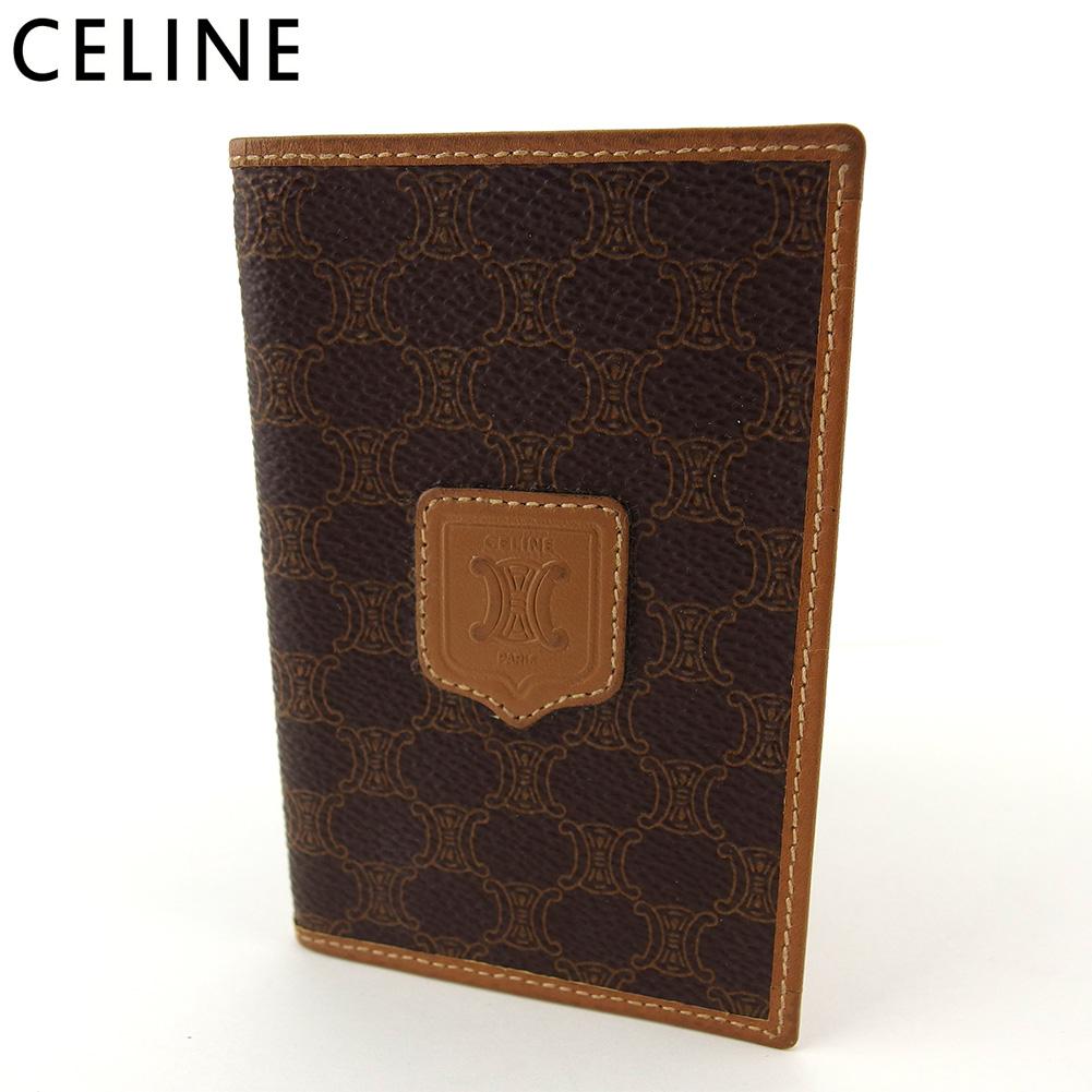 【中古】 セリーヌ カードケース 名刺入れ レディース メンズ マカダム ブラウン PVC×レザー Celine E1583