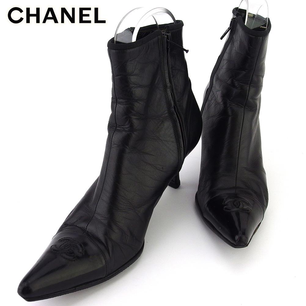 【中古】 シャネル ブーツ シューズ 靴 レディース #37 ココマーク ブラック レザー CHANEL T18390 .