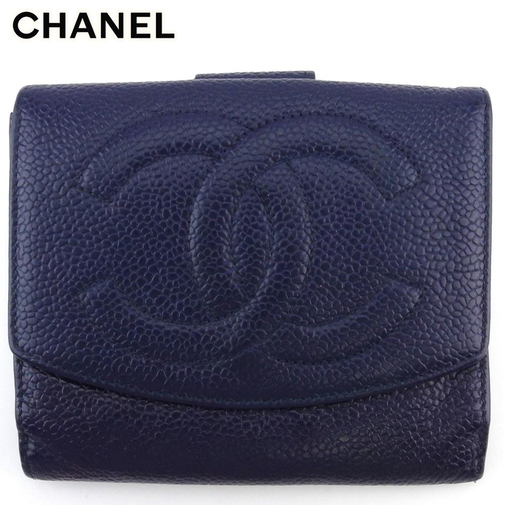 【中古】 シャネル Wホック 財布 さいふ 二つ折り ミニ財布 さいふ レディース メンズ オールドシャネル ココマーク ネイビー キャビアスキン CHANEL T18024