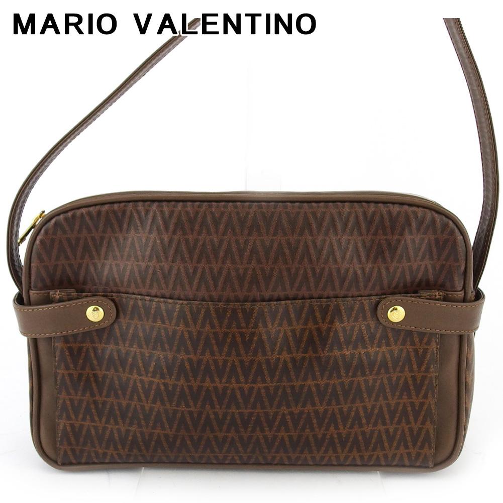【スーパーセール】 【20%オフ】 【中古】 マリオ ヴァレンティノ ショルダーバッグ 斜めがけショルダー バッグ レディース メンズ Vマーク柄 ブラウン ゴールド PVC×レザー MARIO VALENTINO T18514