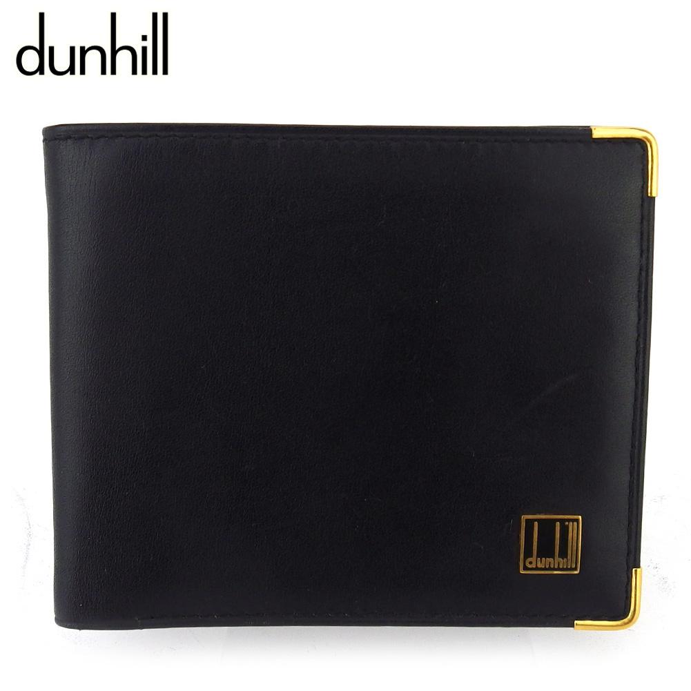 【中古】 ダンヒル 二つ折り 財布 ミニ財布 メンズ ロゴプレート ブラック ゴールド レザー dunhill T18526