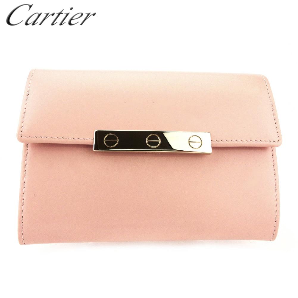 【中古】 カルティエ 二つ折り 財布 ファスナー付き ミニ財布 レディース ラブコレクション ピンク ゴールド レザー Cartier L2914