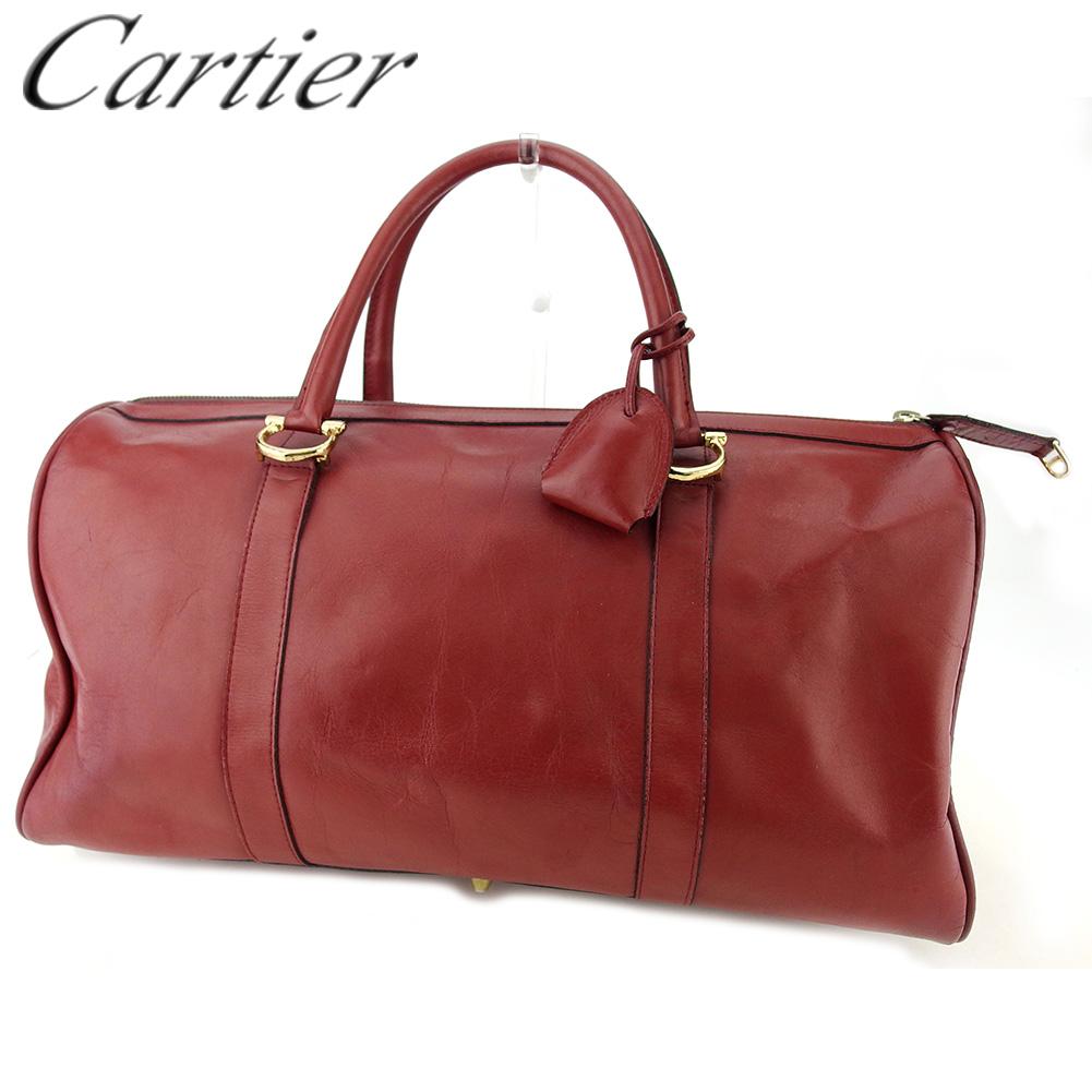 【中古】 カルティエ ボストンバッグ トラベルバッグ 旅行用バッグ レディース メンズ マストライン ボルドー ゴールド レザー Cartier T17065