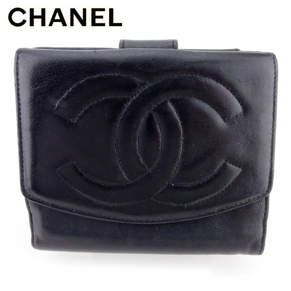 【中古】 シャネル Wホック 財布 二つ折り ミニ財布 レディース メンズ ココマーク ブラック レザー CHANEL T17068