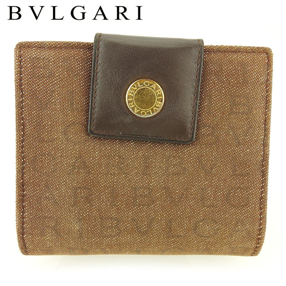 【中古】 ブルガリ Wホック 財布 二つ折り ミニ財布 レディース メンズ ロゴマニア ブラウン ゴールド キャンバス×レザー BVLGARI T17074