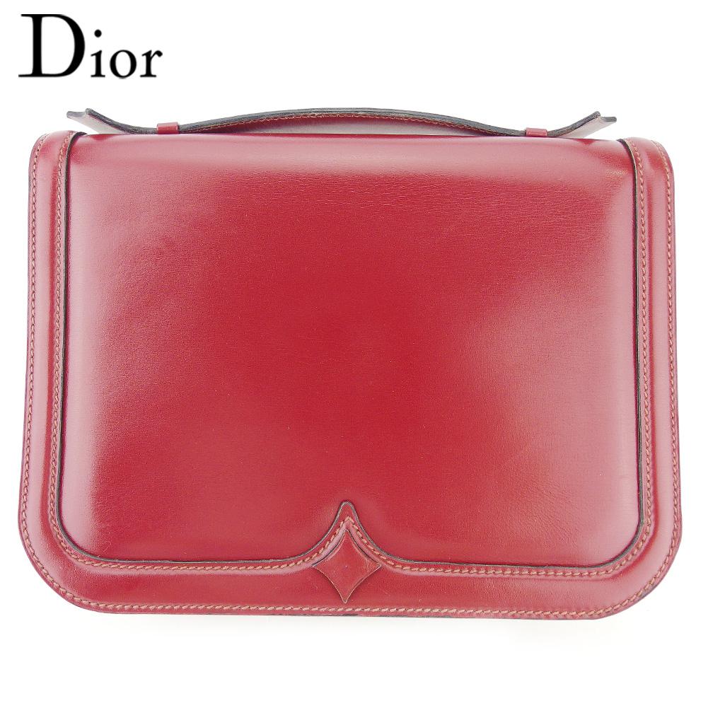 【中古】 ディオール ハンドバッグ バッグ レディース ボルドー レザー Dior T17079