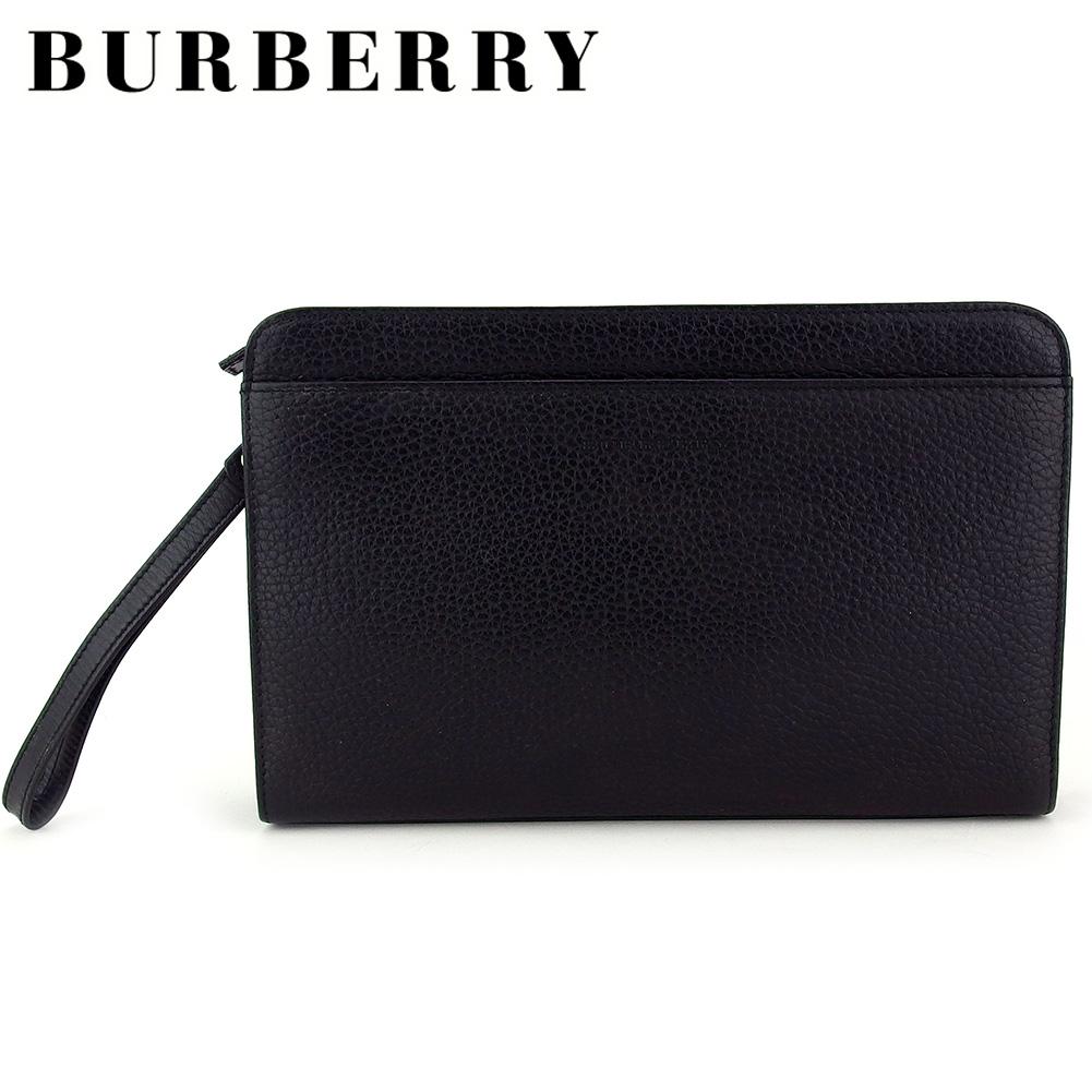 【中古】 バーバリー クラッチバッグ セカンドバッグ メンズ ロゴ ブラック シルバー レザー BURBERRY T17082