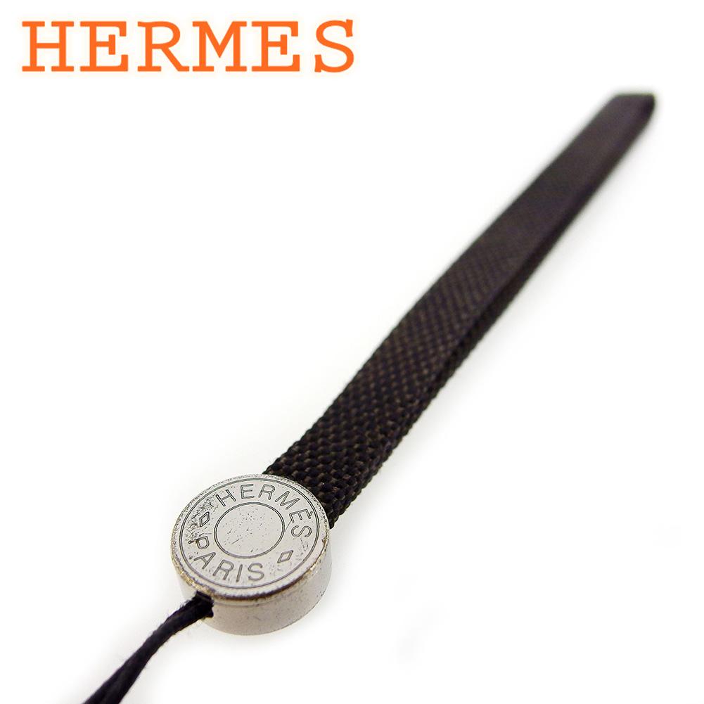 【中古】 エルメス 携帯ストラップ ストラップ レディース メンズ セリエ ブラック ブラウン シルバー キャンバス×シルバー金具 HERMES T17111