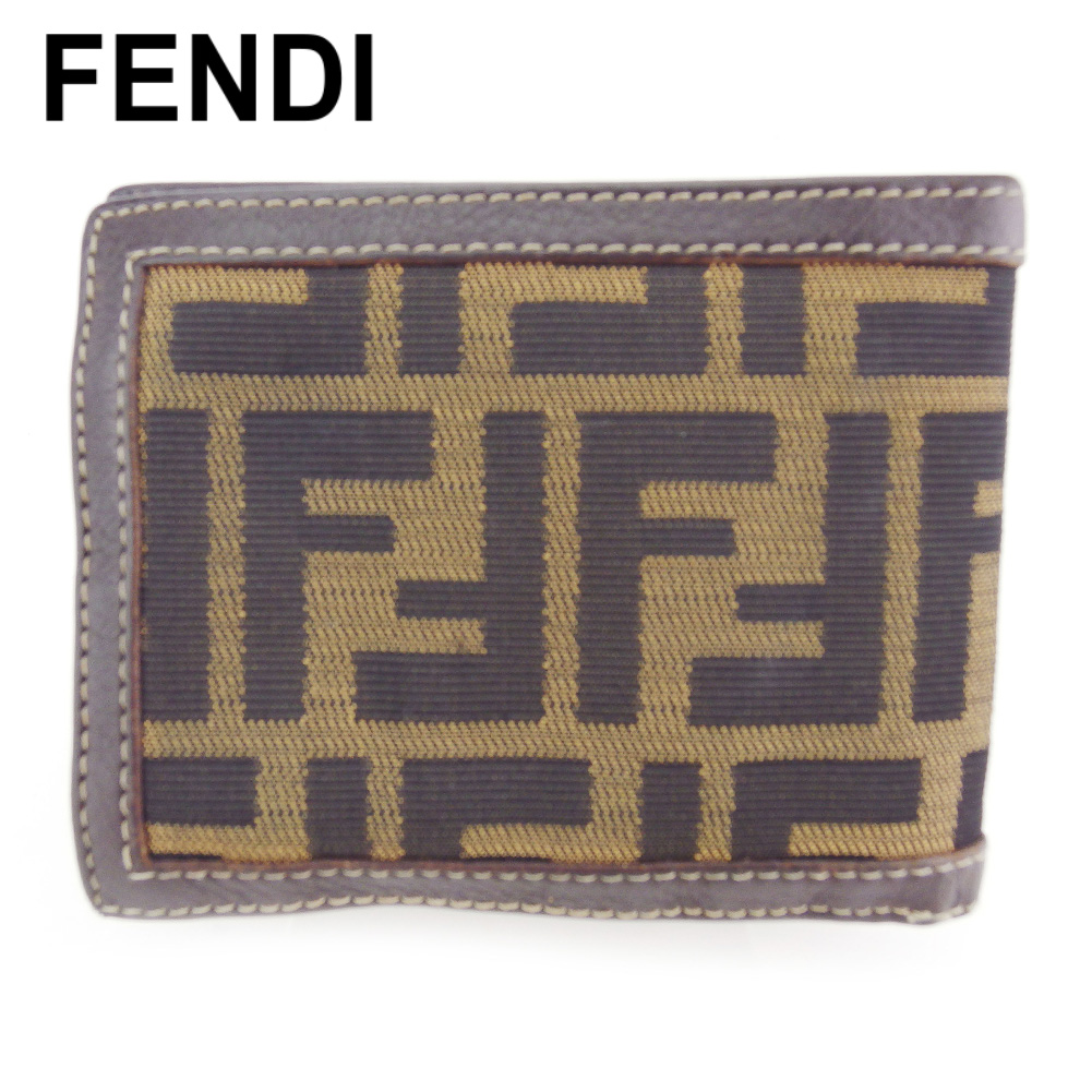 【中古】 フェンディ 二つ折り 財布 ミニ財布 レディース メンズ ズッカ ベージュ ブラック ブラウン キャンバス×レザー FENDI T17125