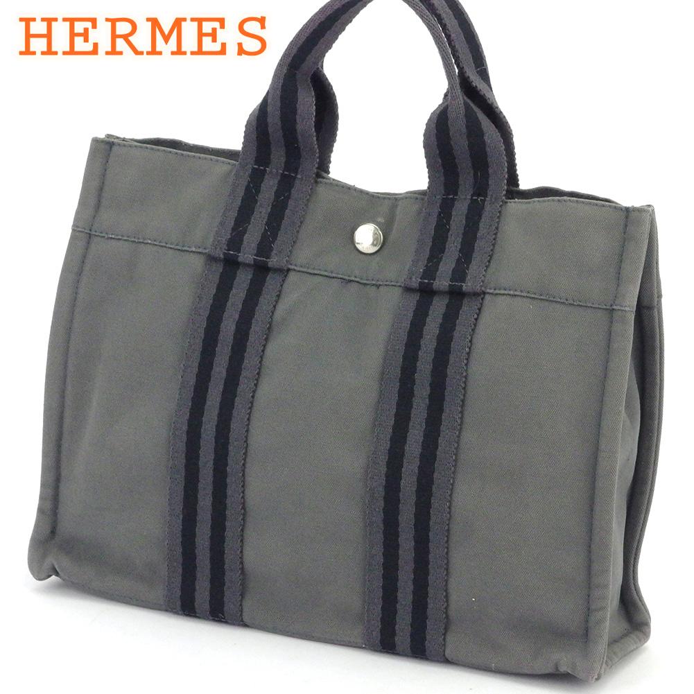 【中古】 エルメス トートバッグ ハンドバッグ レディース メンズ トートPM フールトゥ グレー 灰色 ブラック シルバー コットンキャンバス HERMES L3001