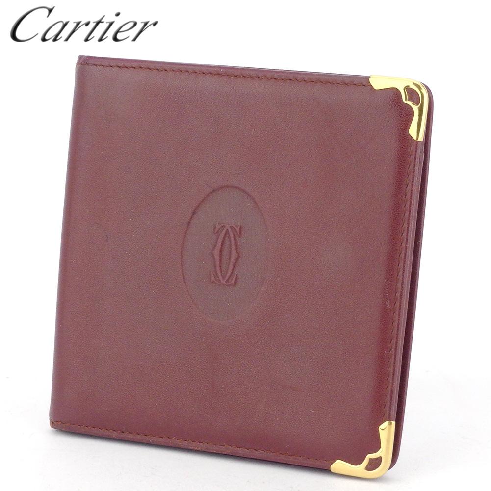 【中古】 カルティエ 二つ折り 財布 ミニ財布 レディース メンズ マストライン ボルドー ゴールド レザー Cartier L3030