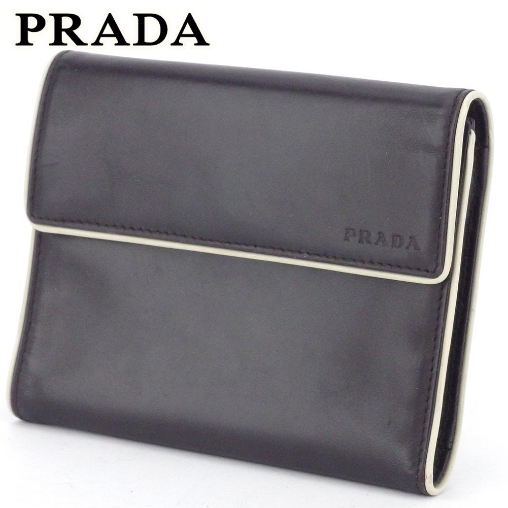 【中古】 プラダ 三つ折り 財布 ミニ財布 レディース メンズ ロゴ ブラウン ベージュ レザー PRADA L3031