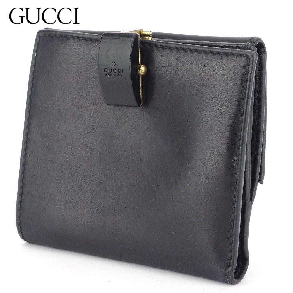 【中古】 グッチ Wホック 財布 二つ折り ミニ財布 レディース メンズ ロゴ ブラック ゴールド レザー GUCCI L3035
