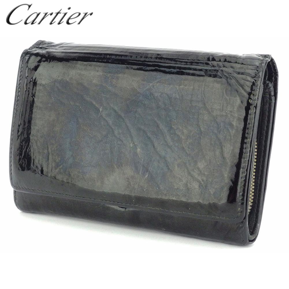 【中古】 カルティエ L字ファスナー 財布 二つ折り レディース メンズ ハッピーバースデー ブラック シルバー エナメルレザー Cartier T17927