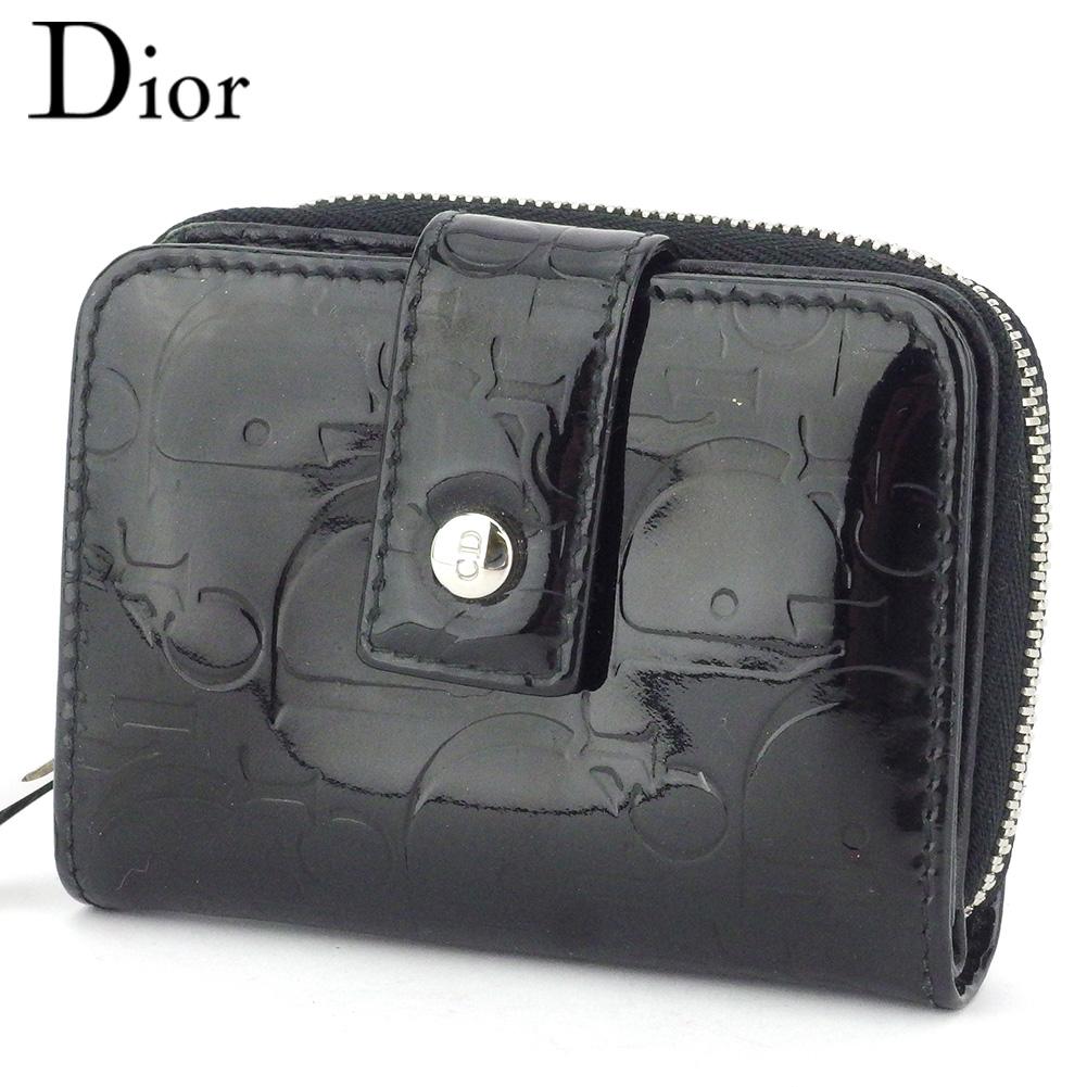 【中古】 ディオール 二つ折り 財布 ラウンドファスナー ミニ財布 レディース アルティメイト ブラック シルバー エナメルレザー Dior T17940