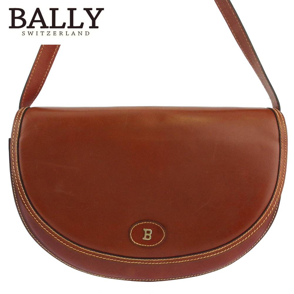 【中古】 バリー ショルダーバッグ 斜めがけショルダー バッグ レディース メンズ Bマーク ブラウン ゴールド レザー BALLY L3073