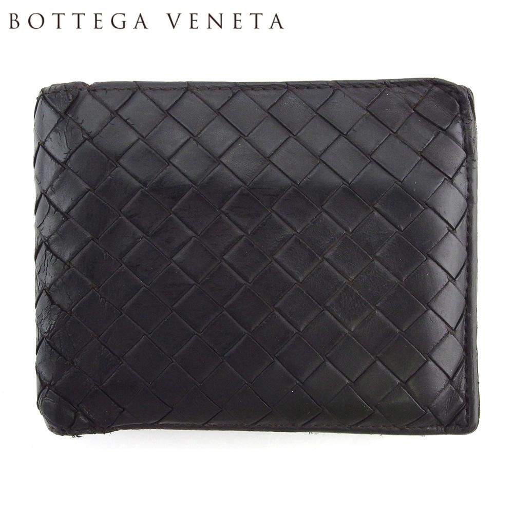 【中古】 ボッテガ ヴェネタ 二つ折り 財布 ミニ財布 メンズ イントレチャート ブラウン レザー BOTTEGA VENETA L3076