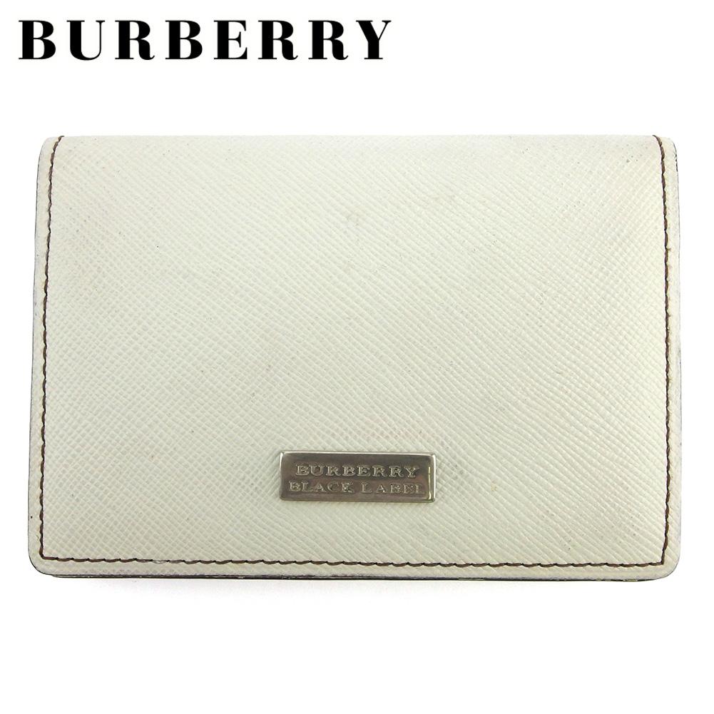 【中古】 バーバリー ブラックレーベル カードケース 名刺入れ メンズ ロゴプレート ホワイト 白 シルバー ブラウン レザー BURBERRY BLACK LABEL L3080