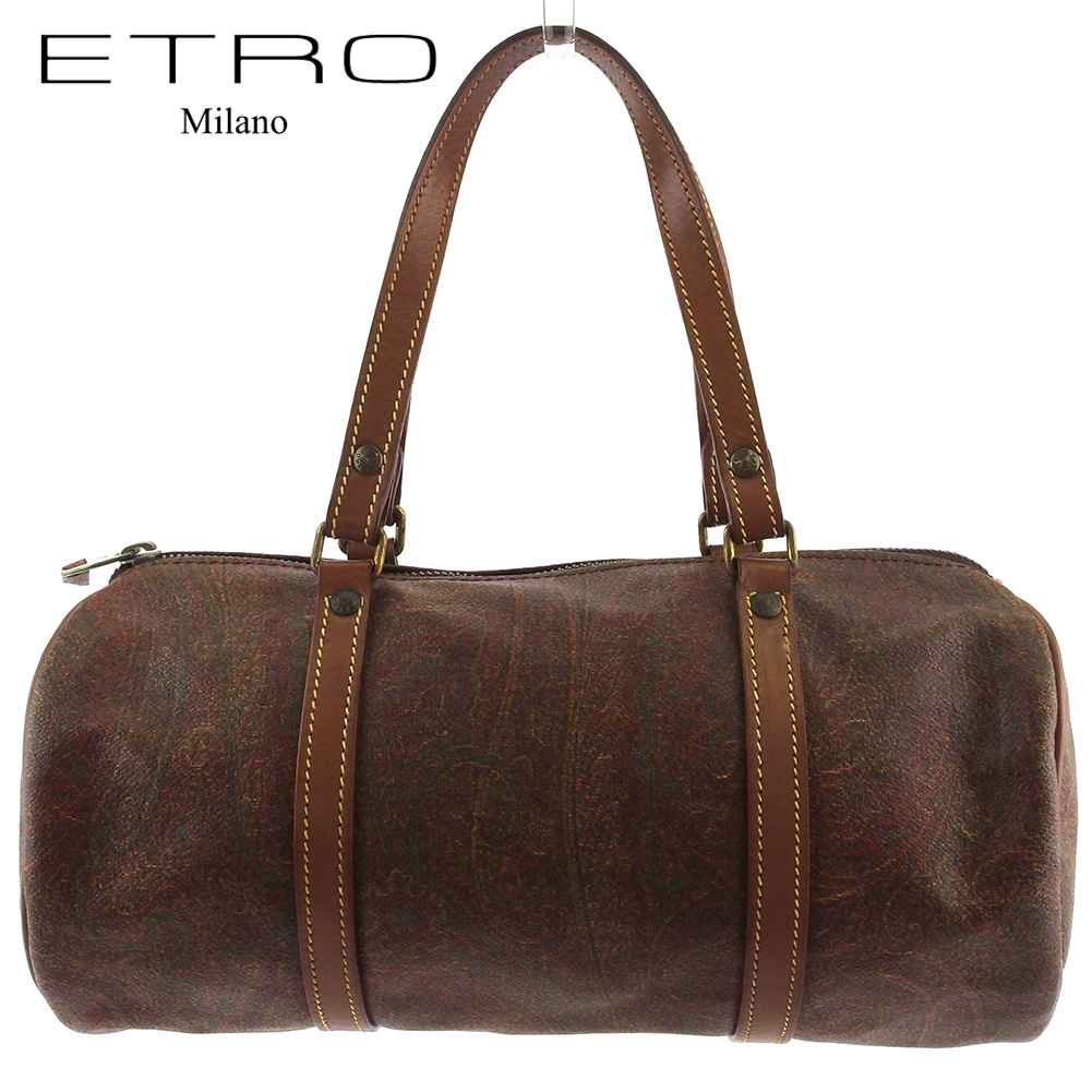 【中古】 エトロ ハンドバッグ ミニボストンバッグ 筒型バッグ レディース メンズ ペイズリー ブラウン系 ゴールド PVC×レザー ETRO L3094