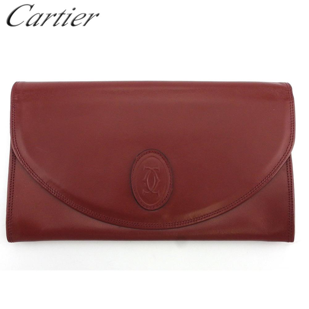 【中古】 カルティエ クラッチバッグ セカンドバッグ バッグ レディース メンズ マストライン ボルドー レザー Cartier Q625