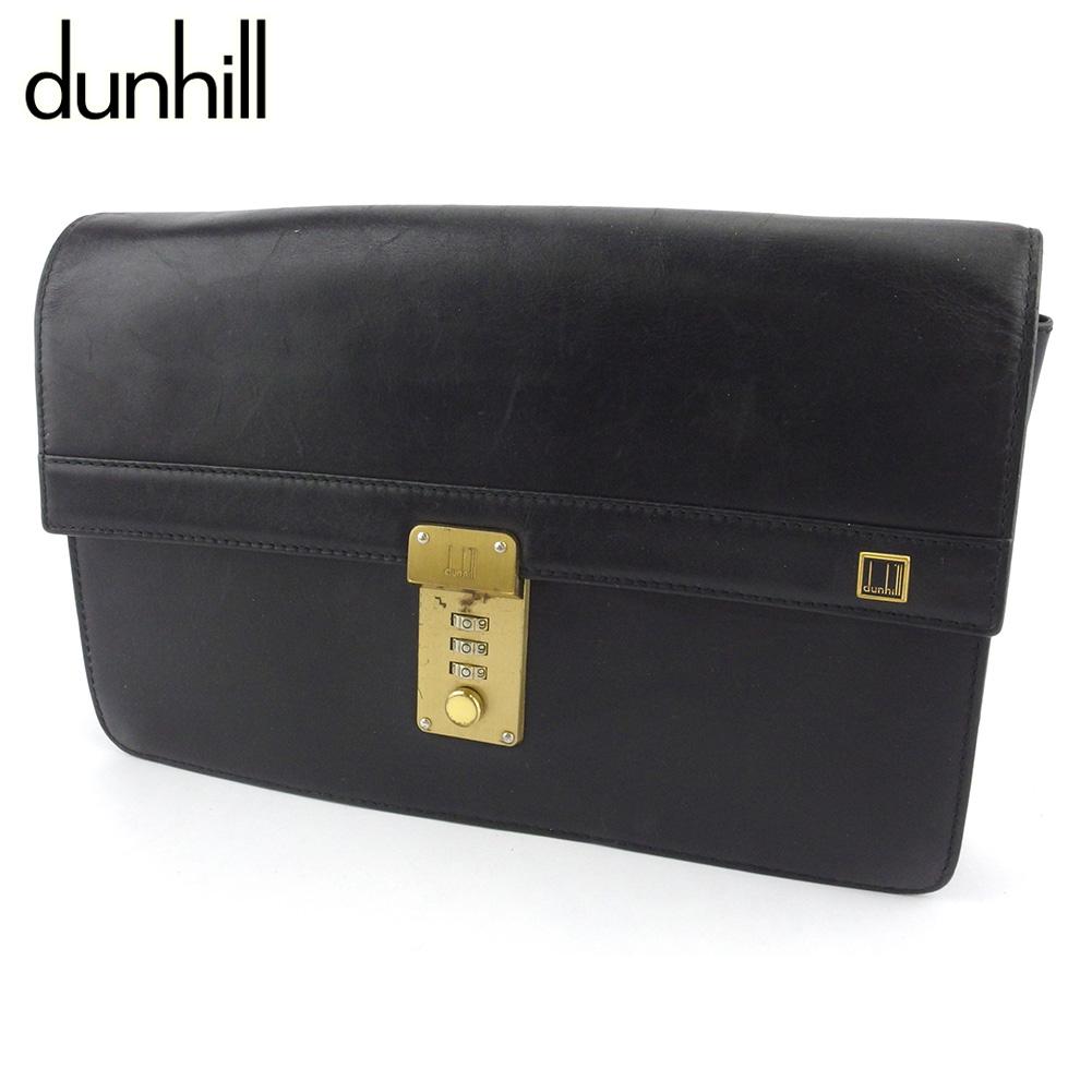 【中古】 ダンヒル クラッチバッグ セカンドバッグ バッグ メンズ ロゴプレート ブラック ゴールド レザー dunhill Q630