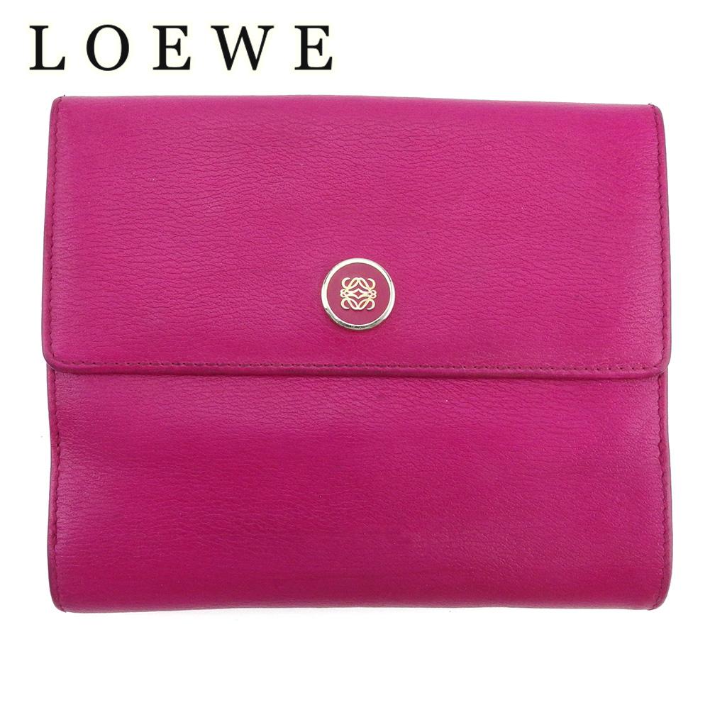 【中古】 ロエベ Wホック 財布 二つ折り レディース アナグラムボタン ピンク シルバー レザー LOEWE Q658