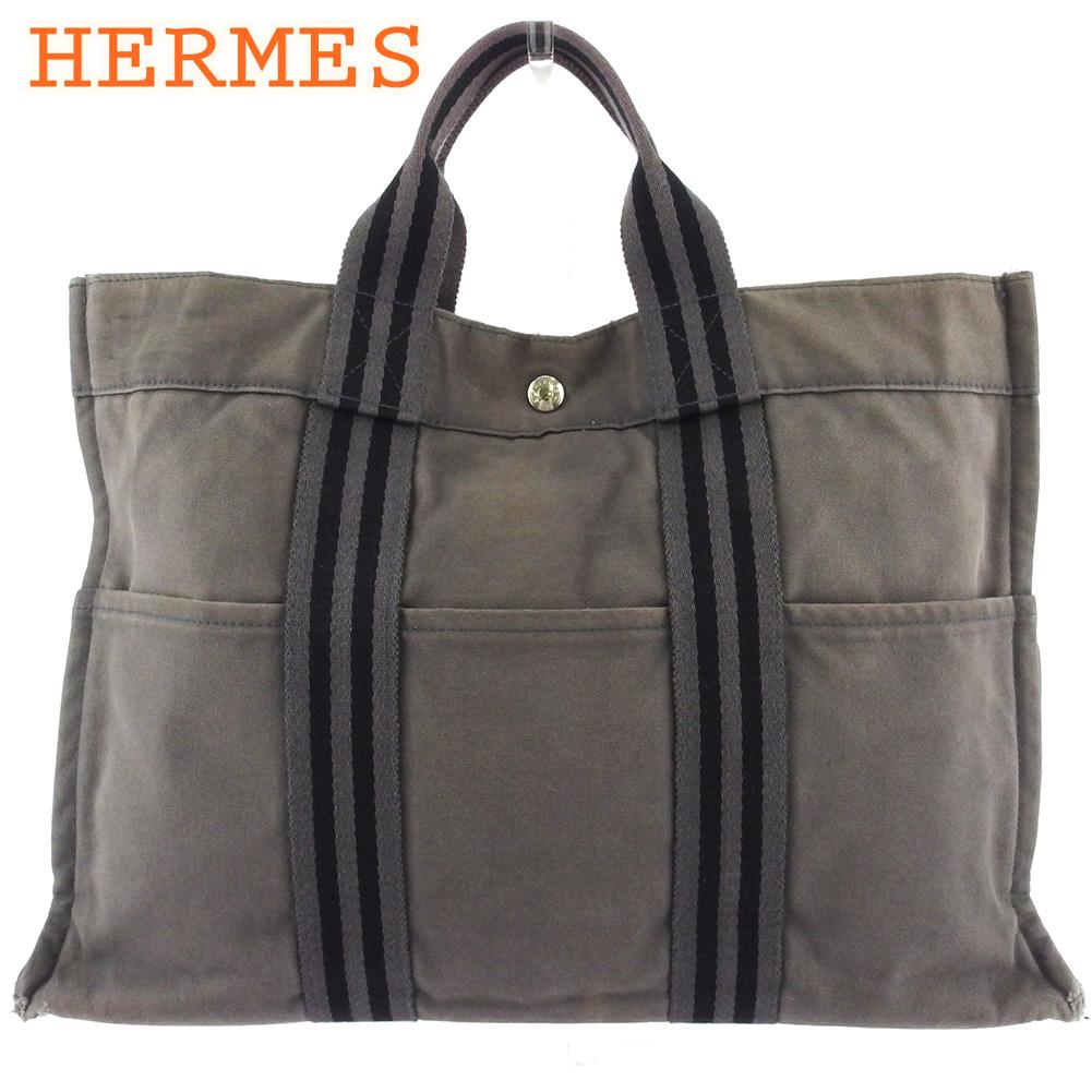 【中古】 エルメス トートバッグ ハンドバッグ レディース メンズ トートMM フールトゥ グレー 灰色 ブラック シルバー コットンキャンバス HERMES T18214