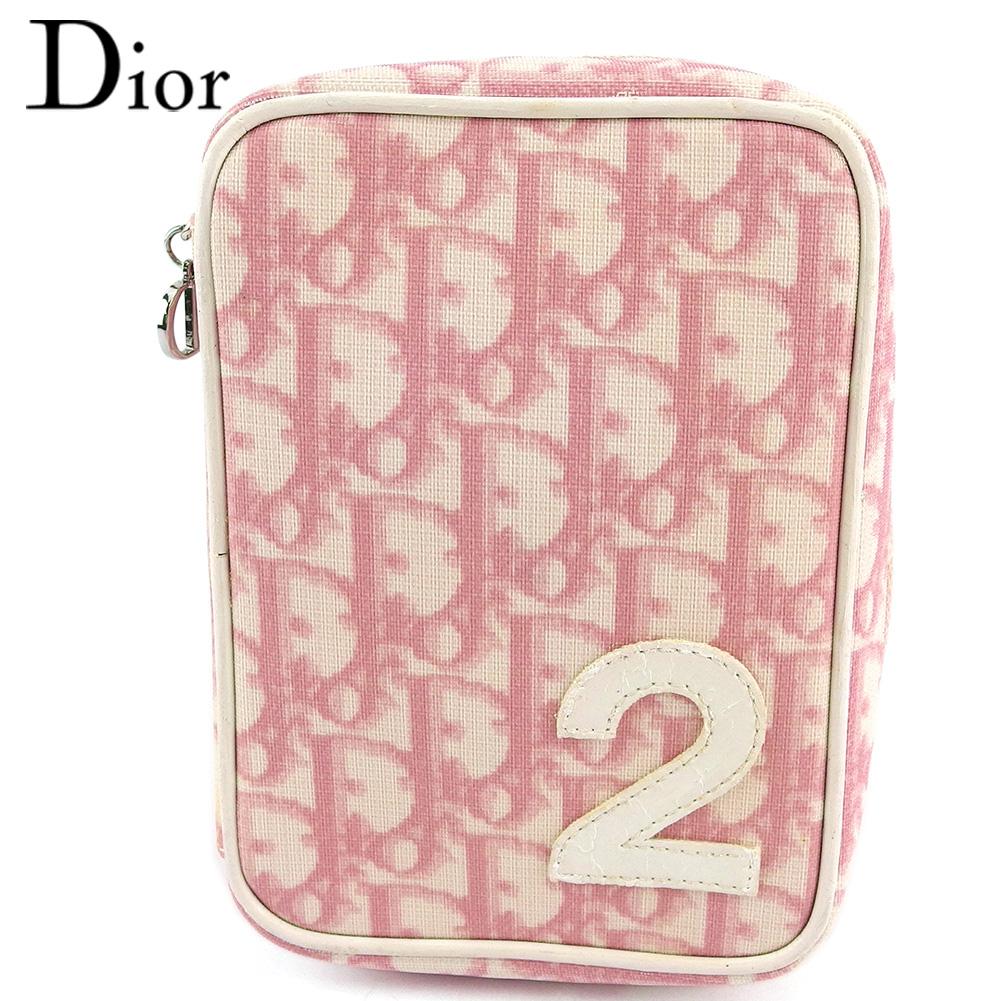 【中古】 ディオール ポーチ 化粧ポーチ レディース トロッター ピンク ホワイト 白 シルバー PVC×エナメル Dior T18215