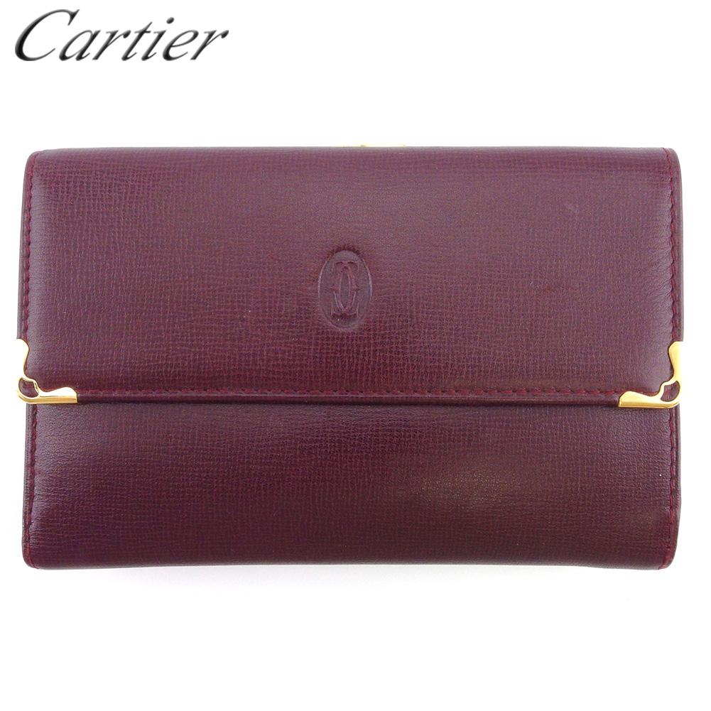 【中古】 カルティエ がま口 財布 三つ折り レディース メンズ マストライン ボルドー ゴールド レザー Cartier T18218
