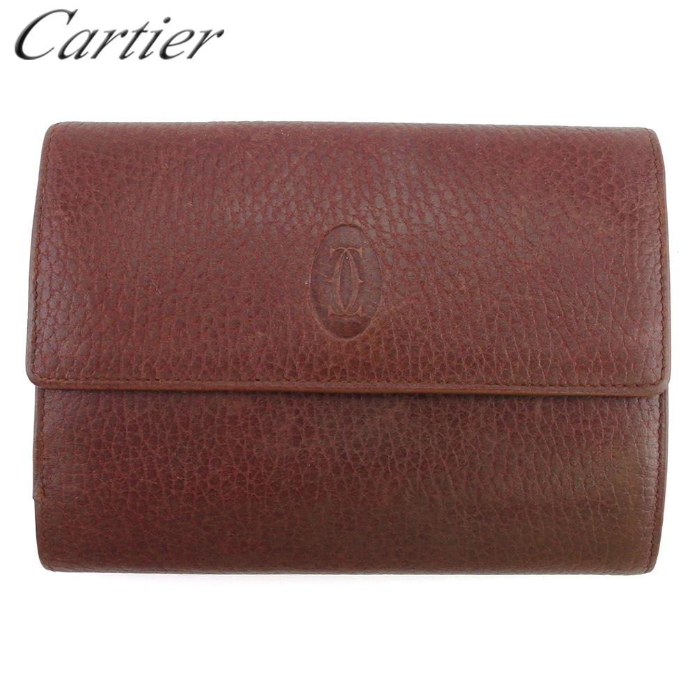 【中古】 カルティエ 三つ折り 財布 がま口 中長財布 レディース メンズ マストライン ボルドー ゴールド レザー Cartier T18245