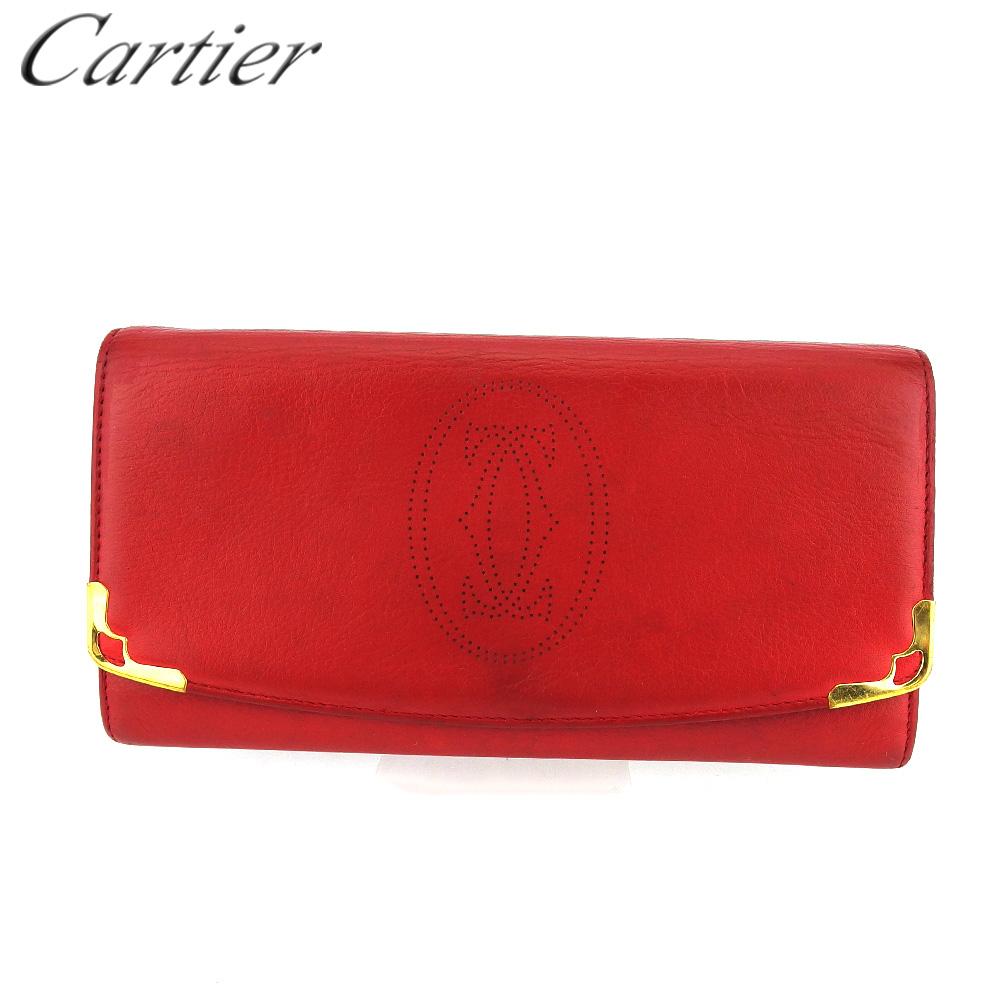 【限定クーポン発行中】 【中古】 カルティエ 長財布 メンズ可 レッド レザー Cartier T18820