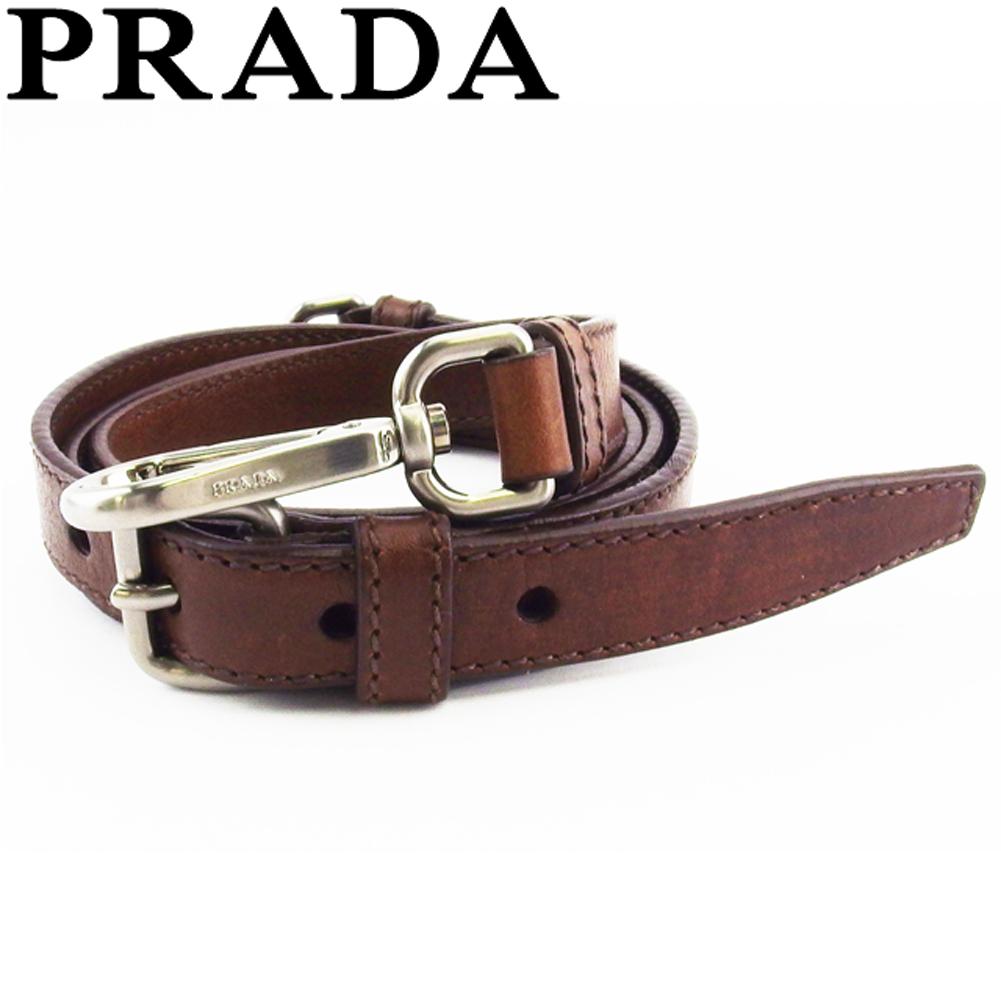 プラダ 人気 中古 祝日 ショルダーストラップ フック取り付けタイプ レディース ブラウン レザー×シルバー金具 PRADA 限定価格セール T18881 メンズ シルバー