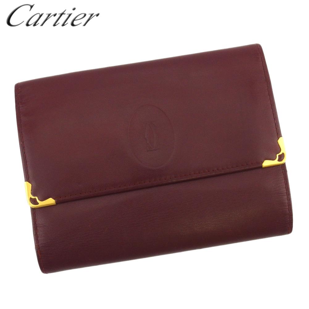 カルティエ 人気 中古 三つ折り 財布 中長財布 がま口 レディース マストライン 価格 ボルドー 信頼 ゴールド L3319 メンズ Cartier レザー