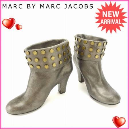 【中古】 【送料無料】 マークバイマークジェイコブス MARC BY MARC JACOBS ブーツ シューズ 靴 レディース ♯36 ショート丈 ロゴスタッズ ブロンズ×ゴールド レザー (あす楽対応)良品 L392