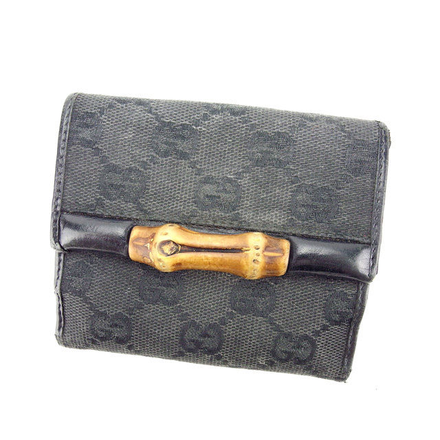 41f896d6451 Gucci GUCCI W hook wallet folio wallet man and woman combined use bamboo GG  canvas 112533 black X natural canvas X leather (correspondence) popularity  A1039