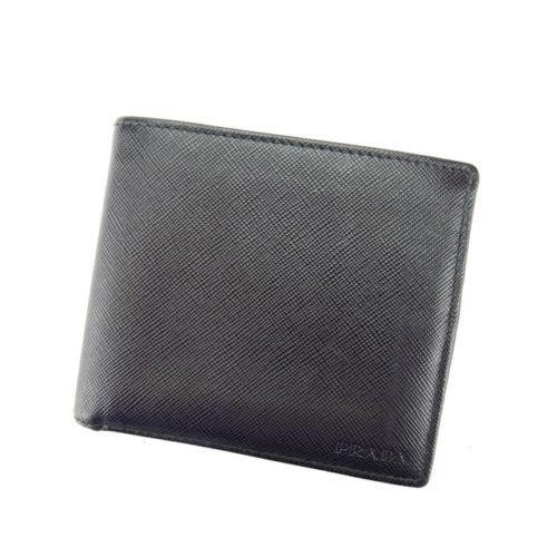 【中古】 【送料無料】 プラダ PRADA 二つ折り財布 メンズ ロゴ ブラック レザー (あす楽対応) 美品 A1153