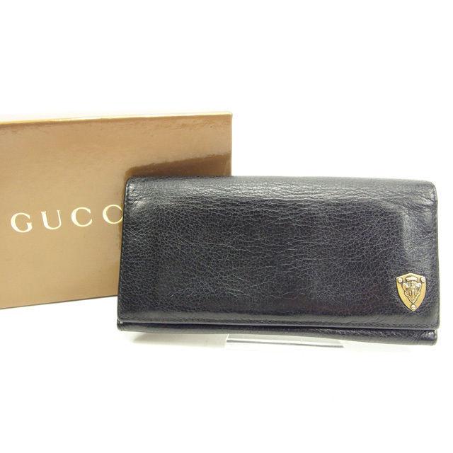 【中古】 【送料無料】 グッチ 長財布 ファスナー付き長財布 ブラック レザー Gucci A1287 .