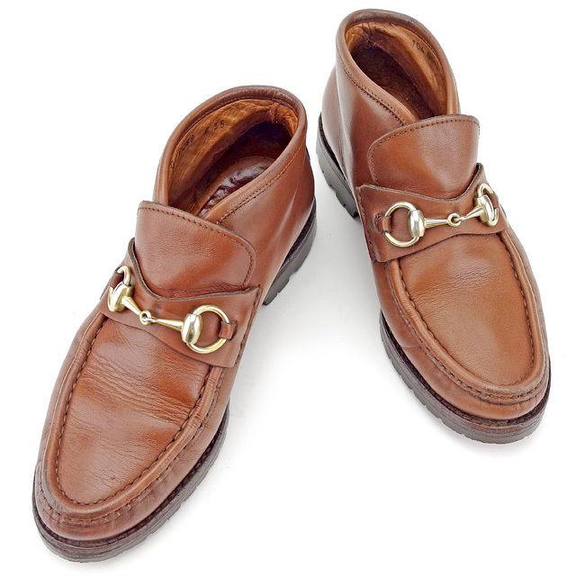 【中古】 【送料無料】 グッチ ローファーブーツ シューズ 靴 レディース ホースビット ♯35 ブラウン×ゴールド レザー Gucci A1394 .
