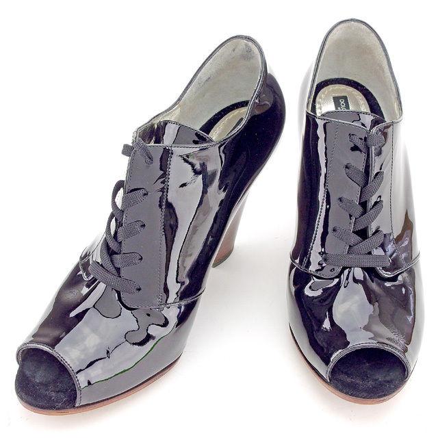 【中古】 【送料無料】 ドルチェ&ガッバーナ ドルガバ ブーティ ブーツ ショートブーツ 靴 #39 レディース ブラック エナメルレザー Dolce & Gabbana A1473 .
