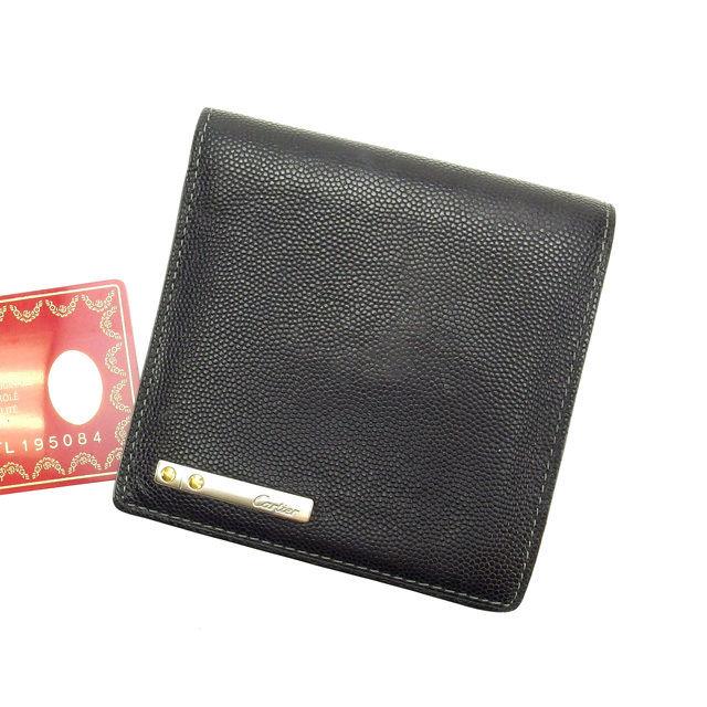 カルティエ 二つ折り財布 ブラック Cartier レディース クリスマス プレゼント 贈り物 1点物 人気 良品 ブランド 迅速発送 オシャレ 大人 在庫一掃 ファッション 【送料無料】 A719