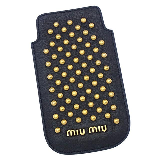 【中古】 【送料無料】 ミュウミュウ iPhone5-5Sケース アイフォン5-5Sケース レディース ロゴ×スタッズ ブラック×ゴールド Miu Miu A836 .