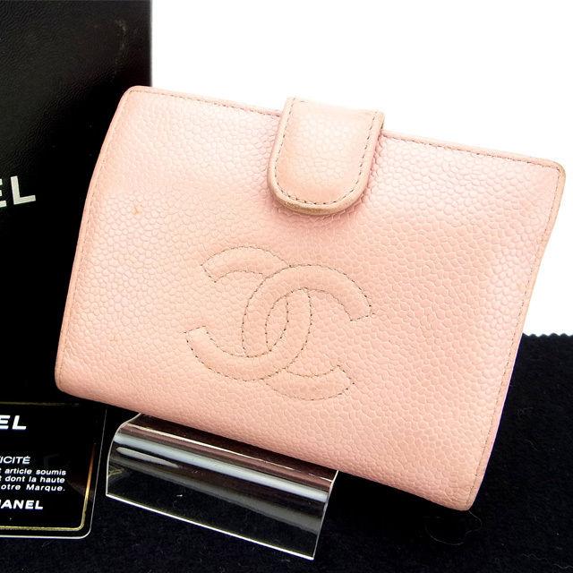 【中古】 【送料無料】 シャネル がま口 財布 レディース キャビアスキン×ココマーク ピンク Chanel C1121 .
