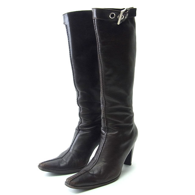 3c888c31c3b773 Prada PRADA boots-long women s shoes shoes   37 squat with belt dark brown    silver leather with cheap popular C1645