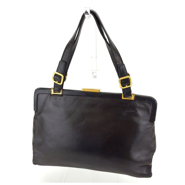 f5f02769f Prada PRADA handbag ladies logo B7648 dark brown x Gold leather with  popular C2353 ...
