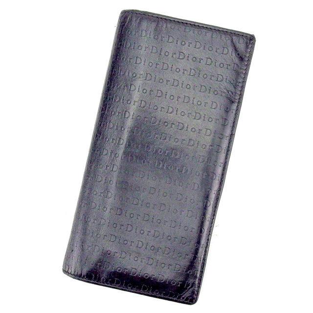 【中古】 【送料無料】 ディオール オム Dior Homme ジップ長財布 長財布 二つ折り財布 メンズ可 ブラック レザー 人気 良品 C2841 .