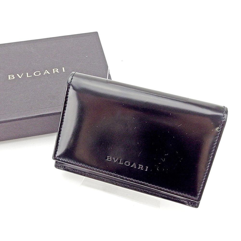 【中古】 【送料無料】 ブルガリ BVLGARI カードケース 名刺入れ レディース メンズ 可 ロゴ ブラック エナメルレザー 美品 C2941 .