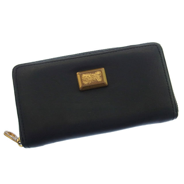 a6602a573805 Mark by mark Jacobs long wallet round fastener Lady s logo plate black X  gold Marc By Marc Jacobs D1063