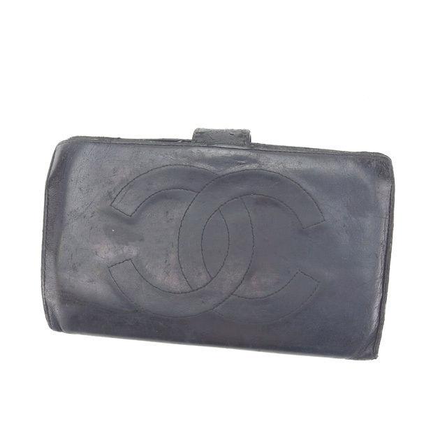 【中古】 【送料無料】 シャネル 長財布 がま口 二つ折り レディース ココマーク ブラック×ゴールド Chanel D1315 .