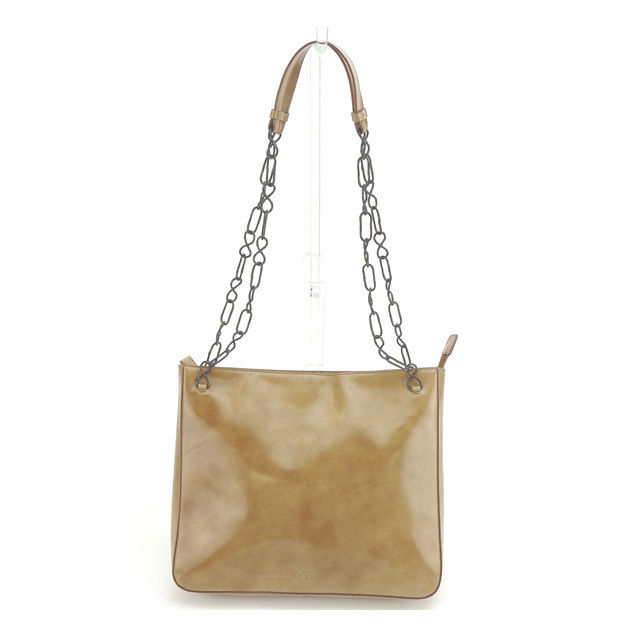 0bd6e0d7 Prada PRADA shoulder bag chain shoulder Lady's logo beige X black system  leather (correspondence) D1317