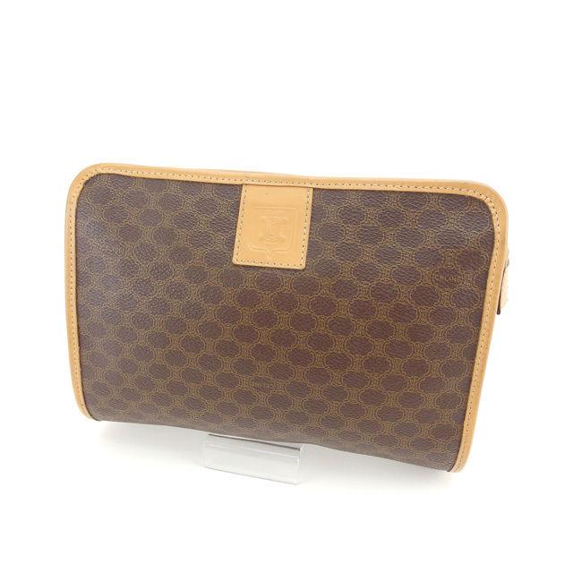 Celine CELINE bag clutch bag men-friendly macadam brown   beige x Gold PVC  x leather with non-defective D1343 5085a4f518582